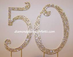 50th cake topper gold rhinestone number 50 50th anniversary birthday cake
