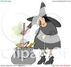 clipart of a cartoon halloween witch doing yoga royalty free