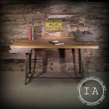 vintage industrial butcher block desk w repurposed cast iron
