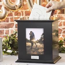 wedding gift card box personalized black finish photo frame gift card box