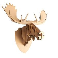 large small wooden moose head 3d wall art home decor 3d