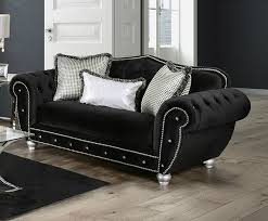 Gray Nailhead Sofa Negrini Traditional Style Black Velvet Like Fabric Oversized