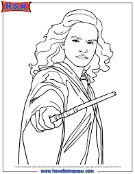 harry potter hermione granger holding wand coloring u0026