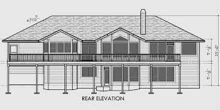 custom ranch house plan w daylight basement and rv garage
