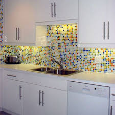 colorful kitchen backsplashes yellow blue orange green and white tile kitchen backboard