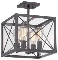 Bronze Ceiling Light 87311 Sb High Line Transitional Light Cage 4 Light Semi Flush