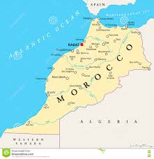 Spain Political Map by Morocco Political Map Stock Photo Image 73779890