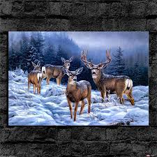 deer home decor the deer the snow home decor hd printed modern art painting on