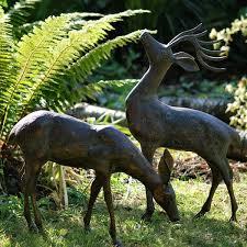 deer garden ornaments statues sculptures with bronze finish