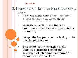 3 4 review of linear programming ppt video online download