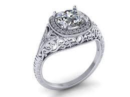 hand made art deco diamond engagement ring 14k white gold vintage