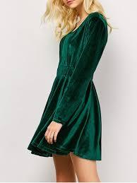 long sleeve velvet thick mini swing dress green long sleeve