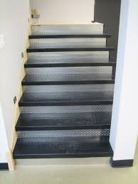 rubber stair treads and diamond plate risers around the house
