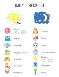 printable daily checklist for kids