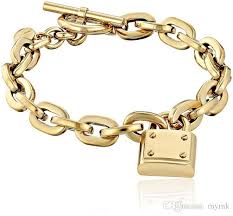 gold charm link bracelet images New york fashion brand tone toggle link bracelet padlock lock jpg