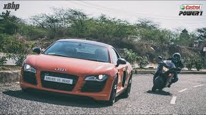 Audi R8 Jet Blue - clash of the heavyweights audi r8 vs suzuki hayabusa driver vs
