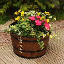 whiskey barrel planter decors good ideas for wooden flower pots