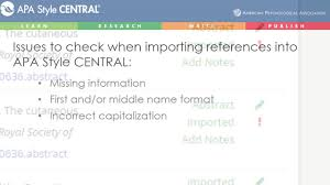 apa format notes apa style central importing references into your my references list