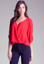 bebe blouses lyst bebe twist front zipper top in