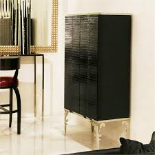 Contemporary Bar Cabinet Perceval Black Eel Visionnaire Collection From Nella Vetrina