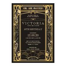 great gatsby wedding invitations stylish glam gold black deco invitations