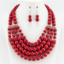 multi layered bead necklace images Layered red bead necklace set jpg