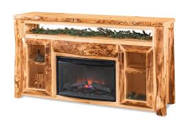 log tv cabinet with electric fireplace
