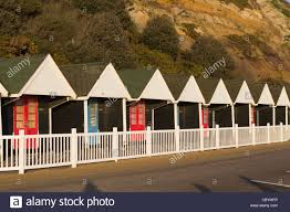 beach huts on bournemouth sea front stock photo royalty free