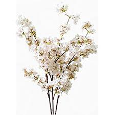 white cherry blossom artificial cherry blossom branches flowers stems silk