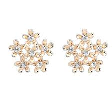 heavy diamond earrings heavy gold color diamond decorated flower design alloy stud