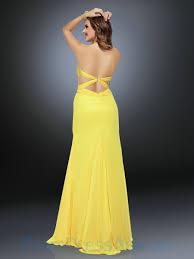 buy tailor made sweetheart beading slit yellow chiffon nice prom