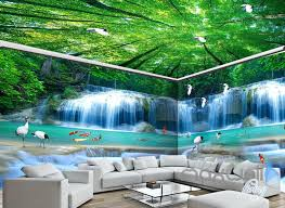 wallpaper for entire wall 3d fish waterfall tree top ceiling entire room wallpaper wall mural