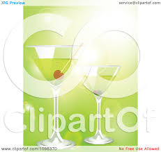 martini illustration clipart 3d martini cocktail drinks over green with flares