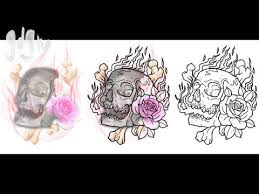 tattoo design composition on photoshop rose flames skull and