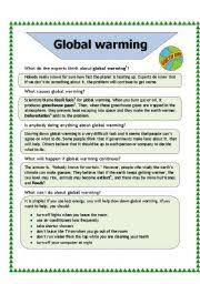 Global Warming Worksheet Global Warming Worksheet By Baiba