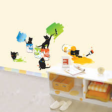 painting cats wall stickers for kids rooms wallstickery com painting cats wall stickers for kids rooms