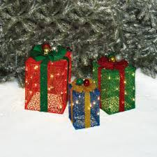 pre lit christmas gift boxes time christmas decor set of 3 glittering mesh gift box