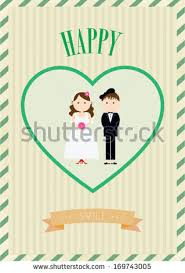 Wedding Poster Template Wedding Invitation Cartoon Style Stock Vector 77692057 Shutterstock