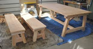 Plans For Picnic Table With Attached Benches by How To Build A Farmhouse Table