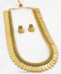 one gram gold kasumalai with green stones south india jewels