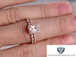 6x8mm emerald cut morganite engagement ring set matching art deco