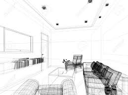 sketch design of interior sitting room wire frame stock photo