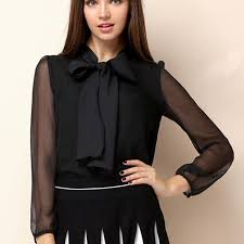 big bow blouse black organza see through puff sleeves chiffon blouse