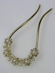hair pin gold faux pearl hair pin by pretty cool