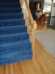 Stairs With Laminate Flooring Decorating Blue Stair Treads Carpet With Wood Stair Railing And