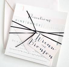square bronson wedding invitation suite with ribbon tie and