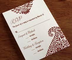 wedding invitations rsvp cards traditional paisley custom hindu sangeet mehndi and wedding