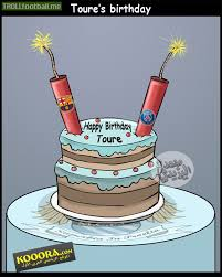 cartoon yaya toure u0027s birthday cake troll football