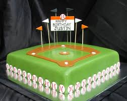fondant baseball field diamond birthday cake black and orange