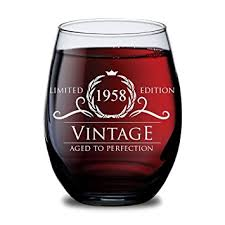 birthday gifts for 60 year olds 1958 60th birthday gifts for women and men wine glass